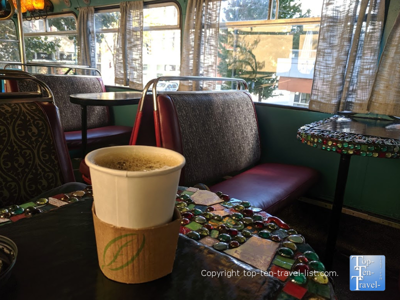 Enjoying a drink inside Double D's coffee bus in Asheville, North Carolina