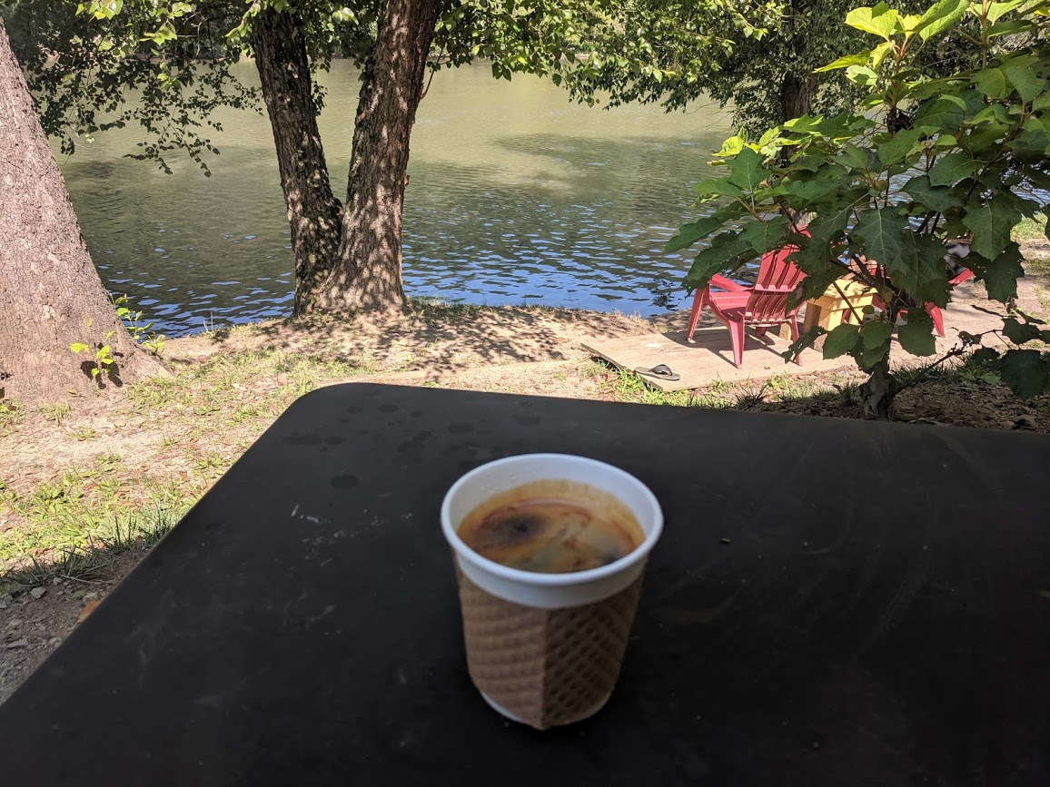Coffee with a scenic river view at High Five near Asheville, North Carolina
