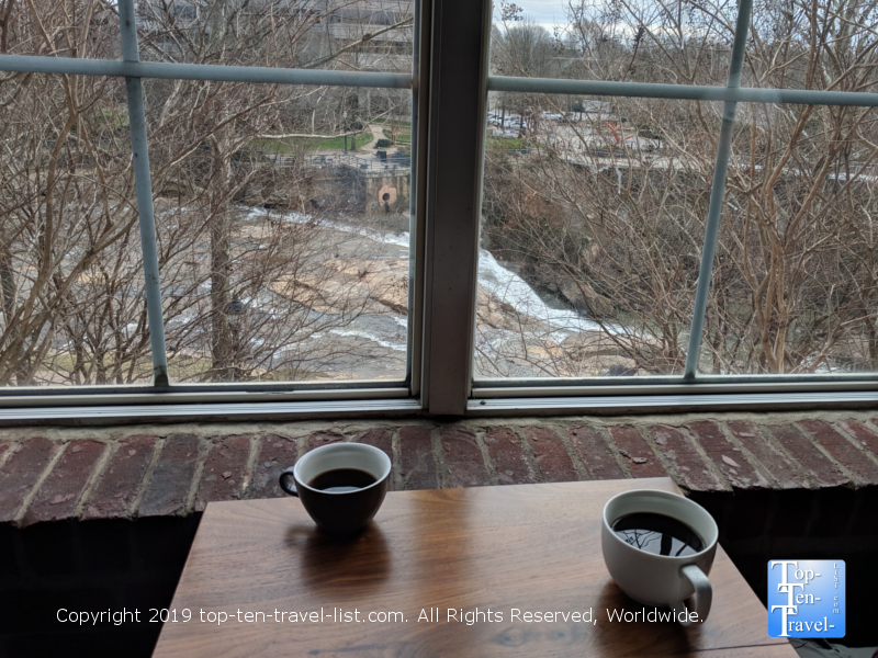 Coffee with a waterfall view at Spill the Beans in Greenville, South Carolina