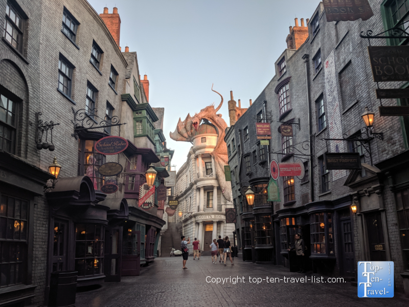Diagon Alley at the Wizarding World of Harry Potter in Orlando, Florida
