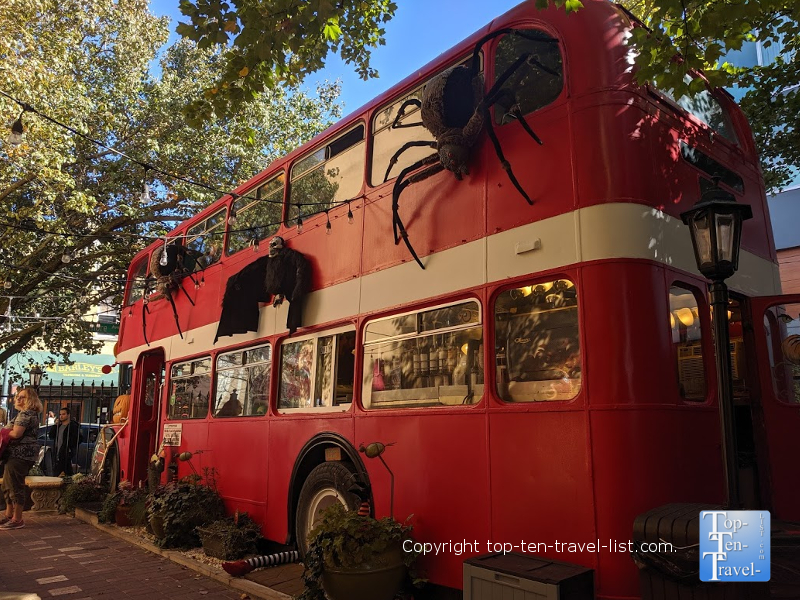Double decker coffee bus in Asheville, North Carolina