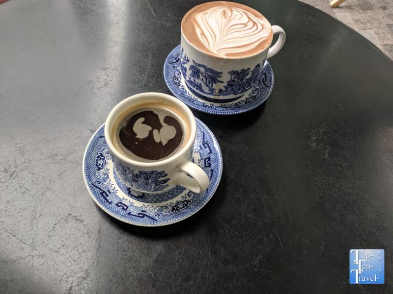 Mocha and Americano at Methodical Coffee in Greenville, South Carolina