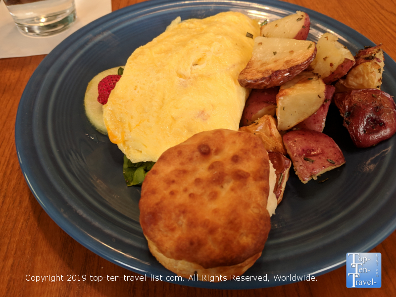 Omelet and biscuit at Corner Kitchen in Asheville, North Carolina