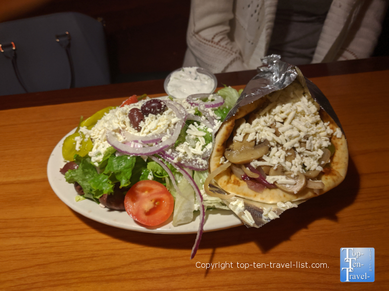 Delicious pita and Greek salad at Apollo Flame Bistro in Asheville, NC