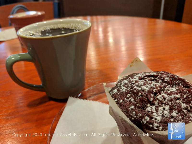 Red velvet muffin and coffee at Port City Java in Greenville, South Carolina