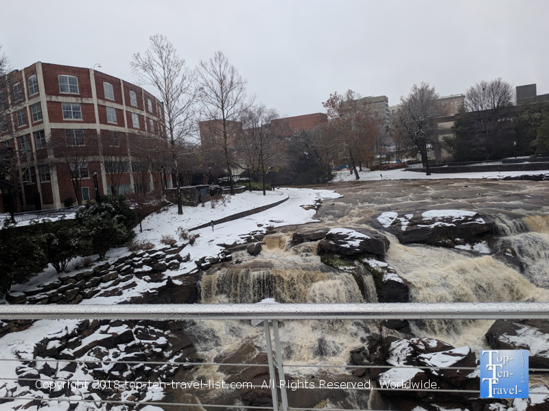 Winter scenery at Falls Park in Greenville, South Carolina