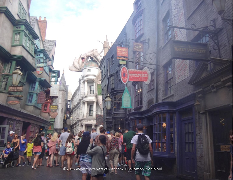 Diagon Alley at the Wizarding World of Harry Potter at Universal Studios in Orlando, Florida