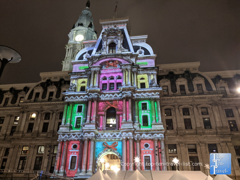 Deck the Hall holiday light show in downtown Philadelphia