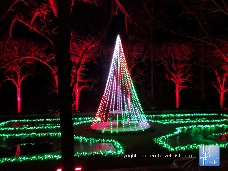 Festive holiday light show during A Longwood Christmas in Pennsylvania