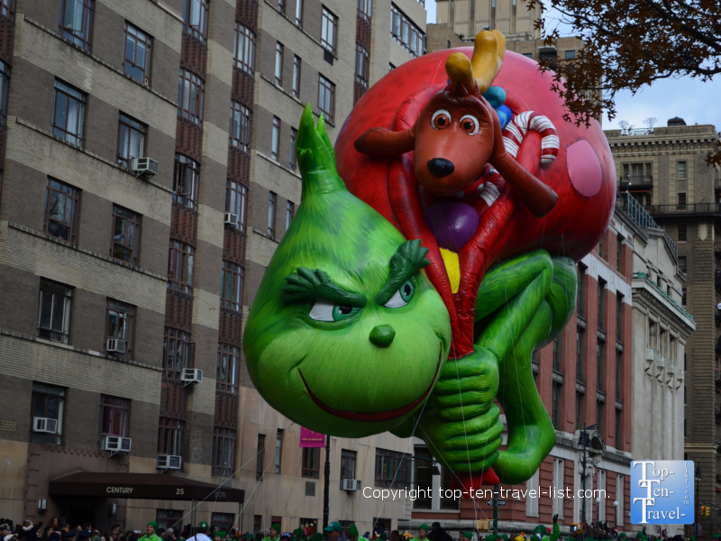 The Grinch balloon in the Macy's Thanksgiving Day Parade