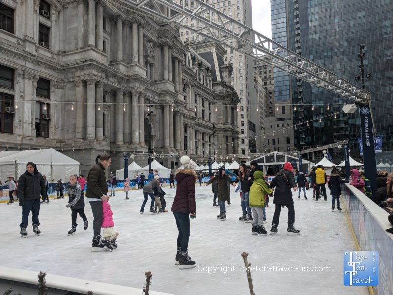 Ice skating at Dilworth Park in downtown Philly