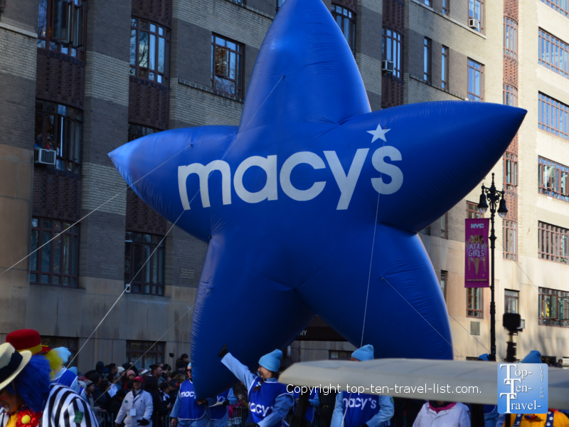 Macy's Blue star balloon in the Thanksgiving Day Parade