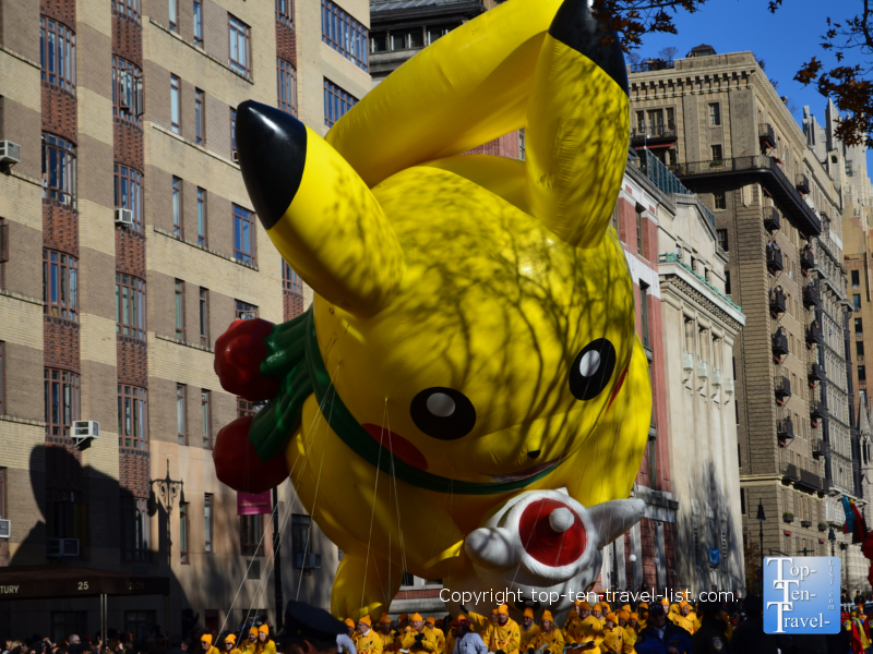 Pikachu balloon in the Macy's Thanksgiving Day Parade