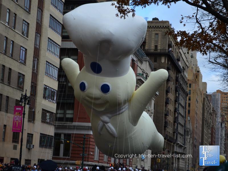 Pillsbury dough boy balloon in the Macy's Thanksgiving Day Parade