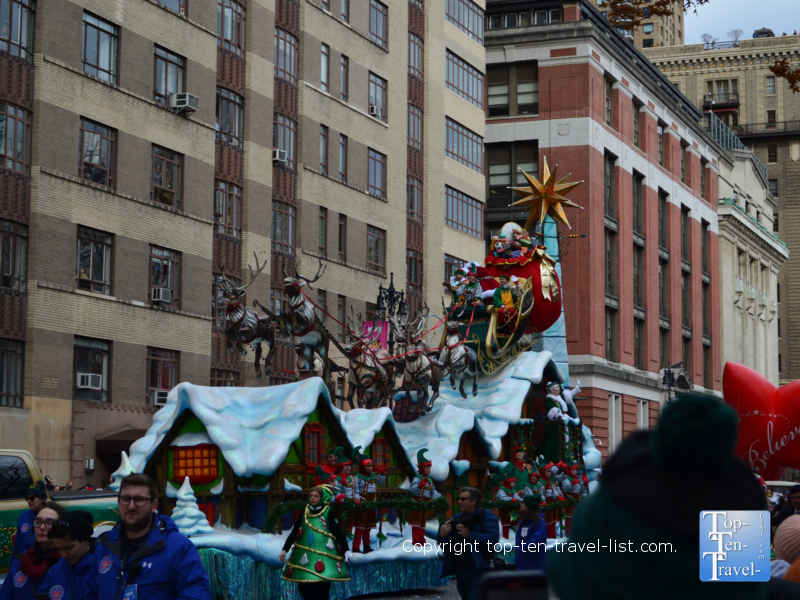 Santa arriving at the Macy's Thanksgiving Day Parade