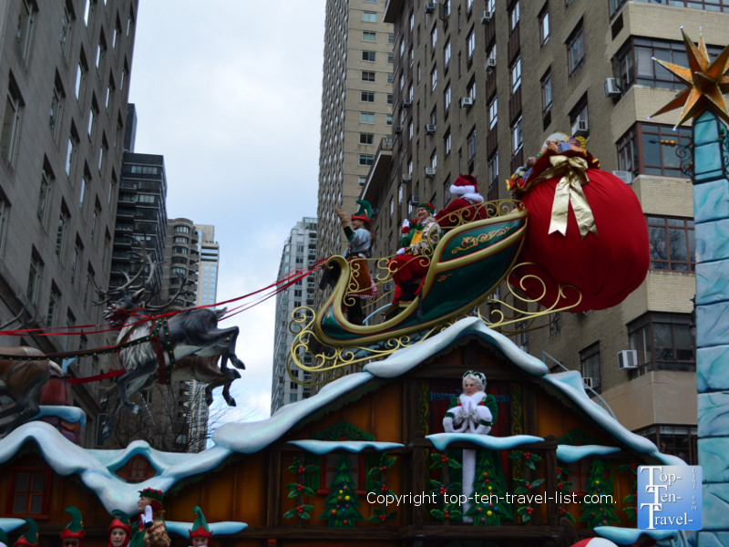 Santa's arrival at the end of the Macy's Thanksgiving Day Parade