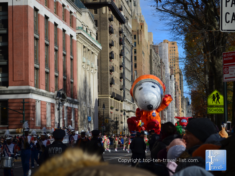 Snoopy astronaut balloon in the Macy's Thanksgiving Day Parade