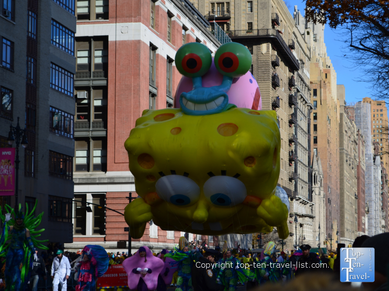 Spongebob balloon in the Macy's Thanksgiving Day Parade
