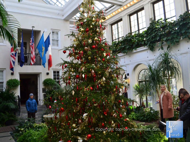 Christmas tree in the historic duPont house at Longwood Gardens