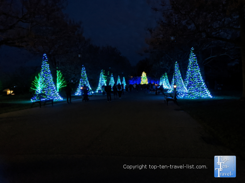 Winter holiday lights at Longwood Gardens in Pennsylvania