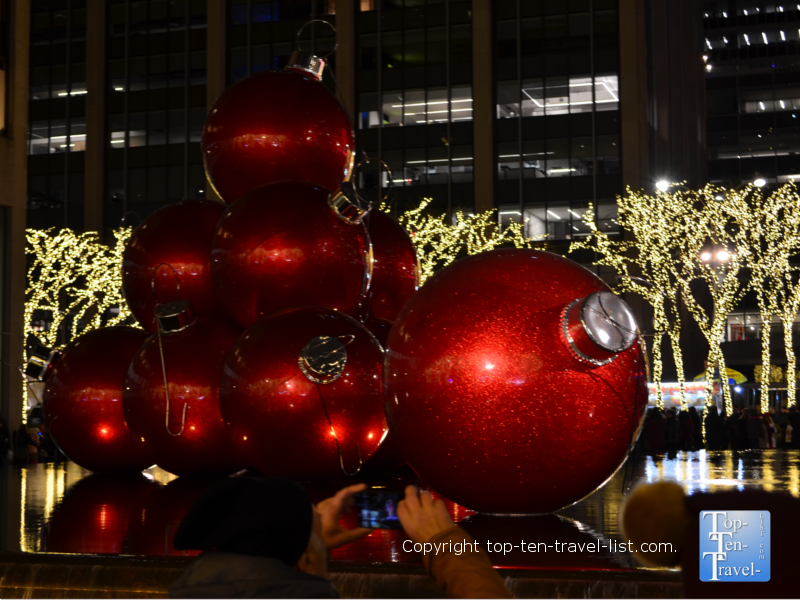 Giant ornaments on 6th Avenue in New York City