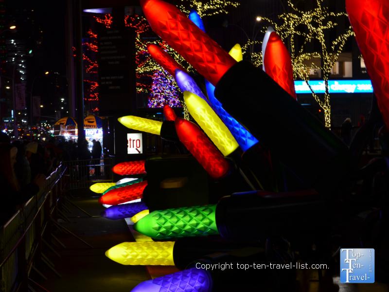 Gigantic light strand holiday decor in NYC