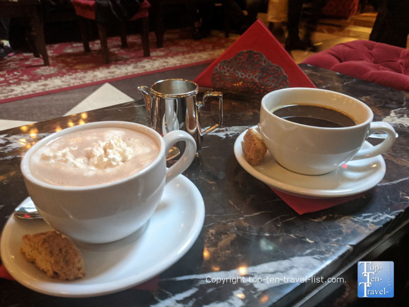 Delicious hot cocoa at The Parker Hotel in NYC