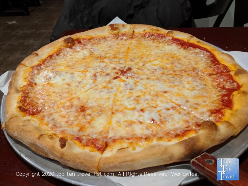 Delicious pizza at Dino's in Bridgeport, Pennsylvania