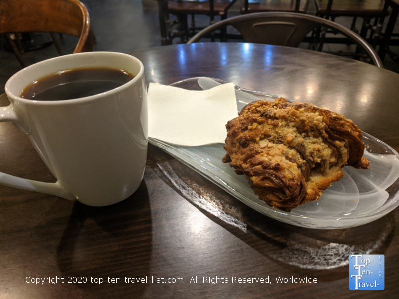 Coffee and PB&J Croissant at ICI Macarons in Old City Philadelphia
