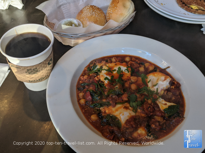 Delicious coffee and a Veggie Shakshuka at Cafe Ole in Old City Philadelphia