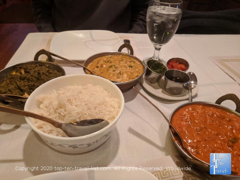Tikki Masala, Saag Paneer, and Veggie Korma at Nirvana Indian Bistro in Lafayette Hills, PA