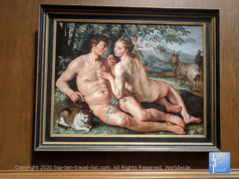 The Fall of Man painting by Hendrick Goltzius at the National Gallery of Art west building in Washington D.C.