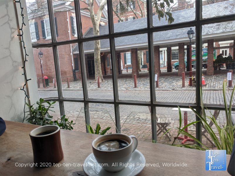 Beautiful window seat and excellent coffee at Bodhi in the Society Hill neighborhood of Old City Philadelphia