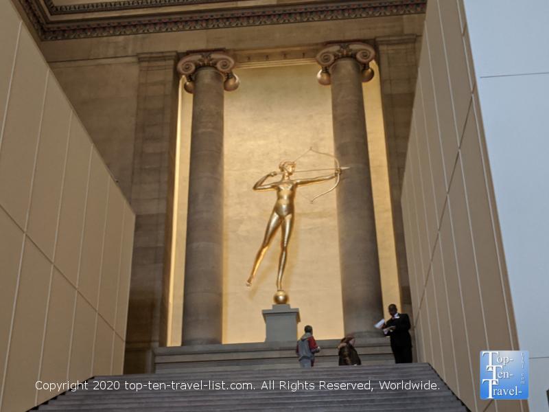 Golden goddess Diana statue at the Philadelphia Museum of Art