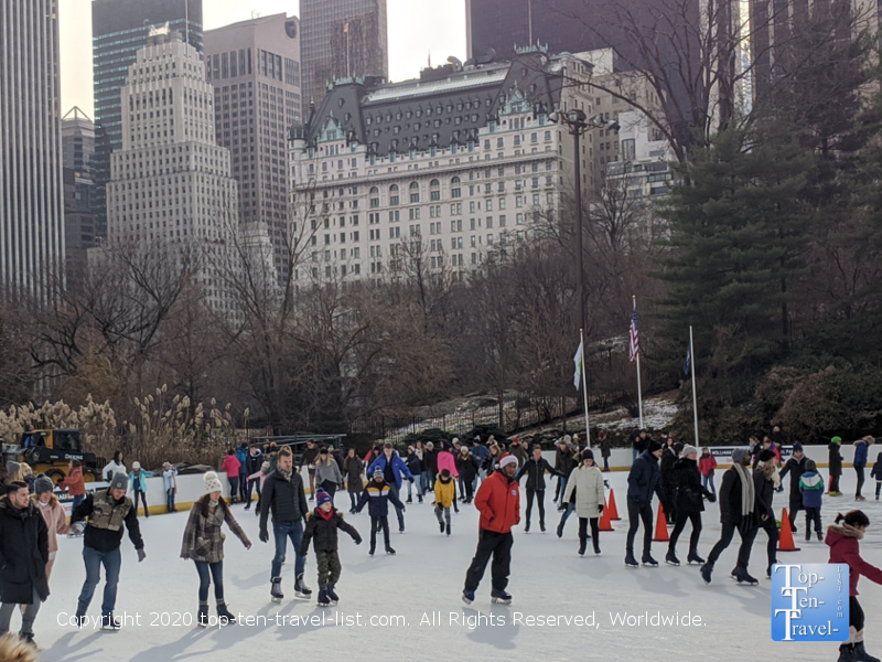Ice skating at the Central Park Wollman rink in NYC