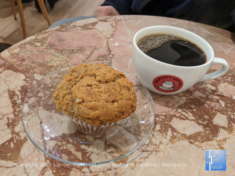 Muffin and house coffee at Old City Coffee in Philadelphia
