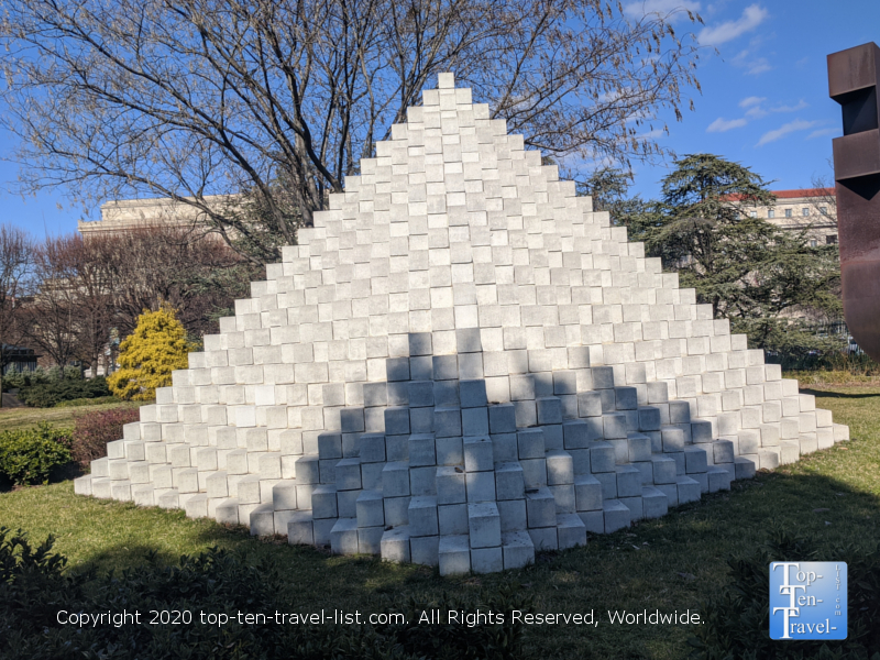 Four sided pyramid sculpture at the National Gallery of Art in Washington D.C.