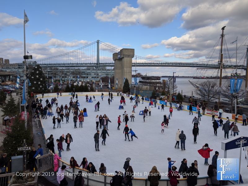 Riverrink, a beautiful waterfront ice skating rink near Old City Philadelphia