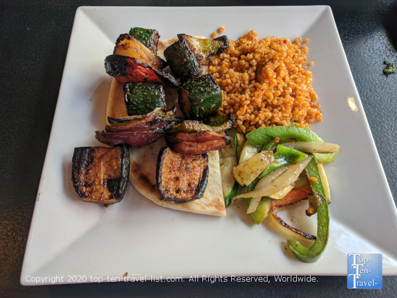 Veggie kabob lunch special at Isot Mediterranean in Old City Philadelphia