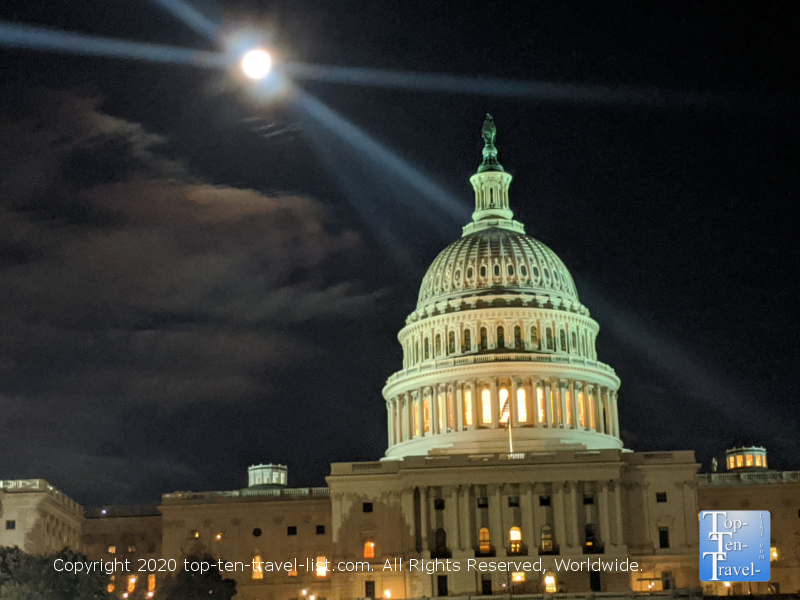 Full moon over the Capitol Hill building in Washington D.C.
