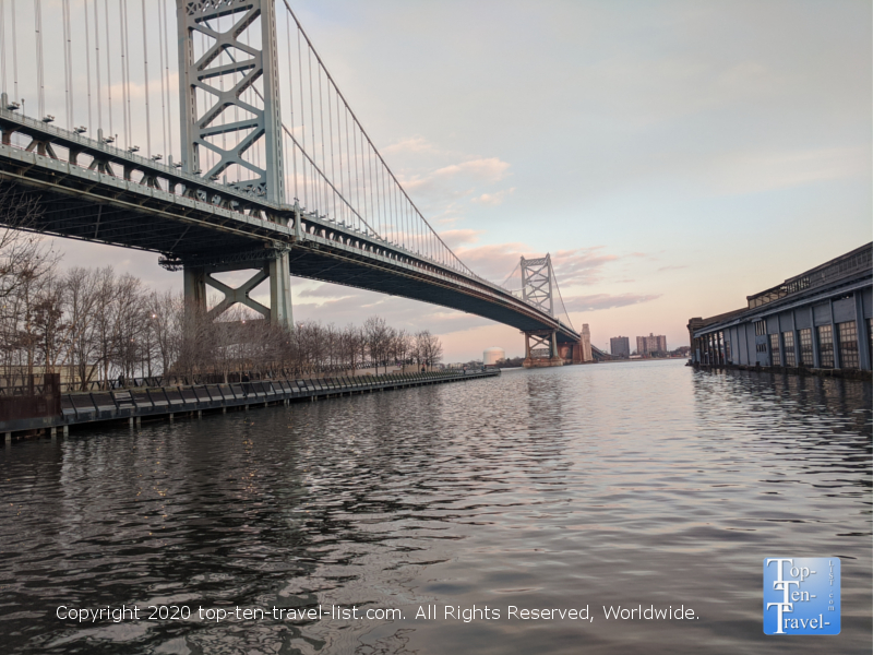 Pretty views of the Benjamin Franklin Bridge from Race Street Pier in Philadelphia
