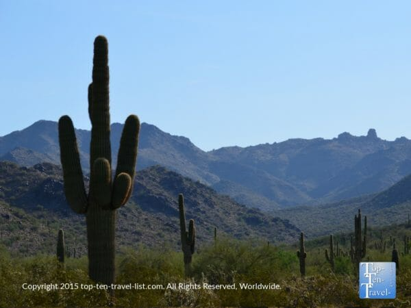 Peaceful mountain scenery along the Horseshoe Loop trail at the Scottsdale McDowell Preserve in Arizona