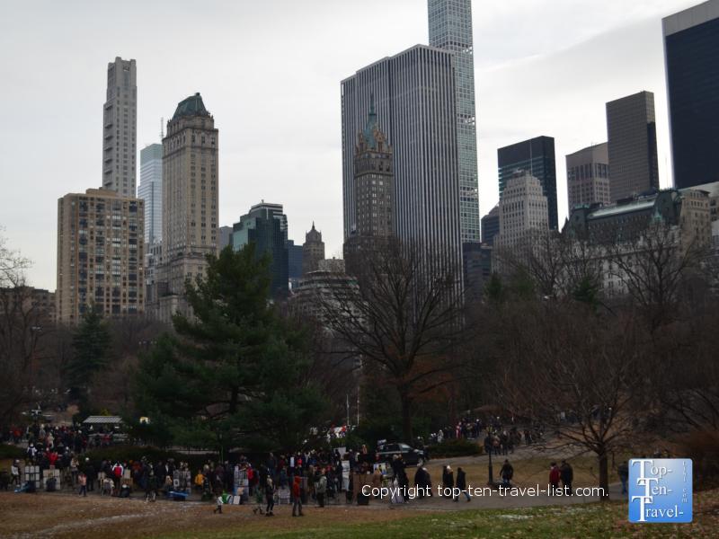 Winter walk through Central Park in New York City