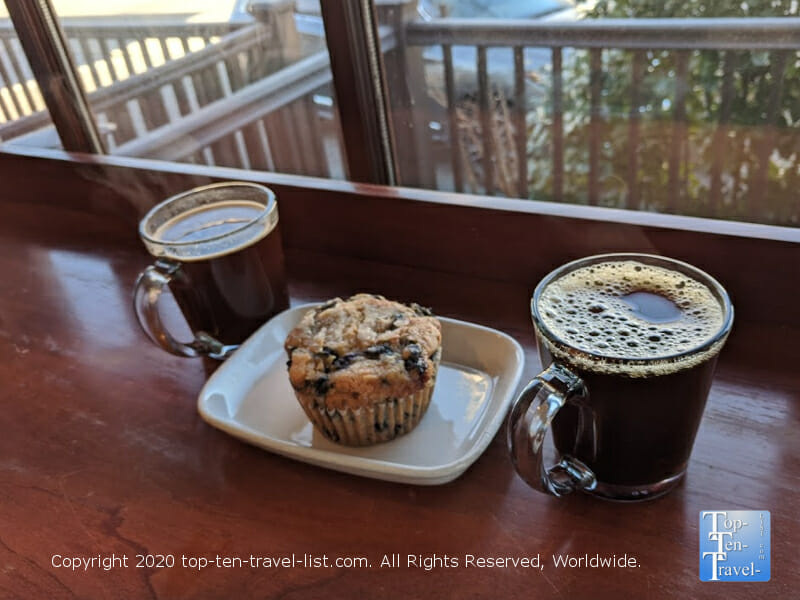 Great blueberry muffin and house coffee at Pour Richard's coffee in Devon, Pennsylvania