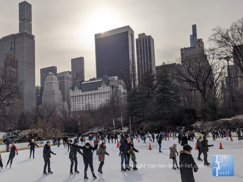 Ice skating at Central Park's Wollman rink in New York City