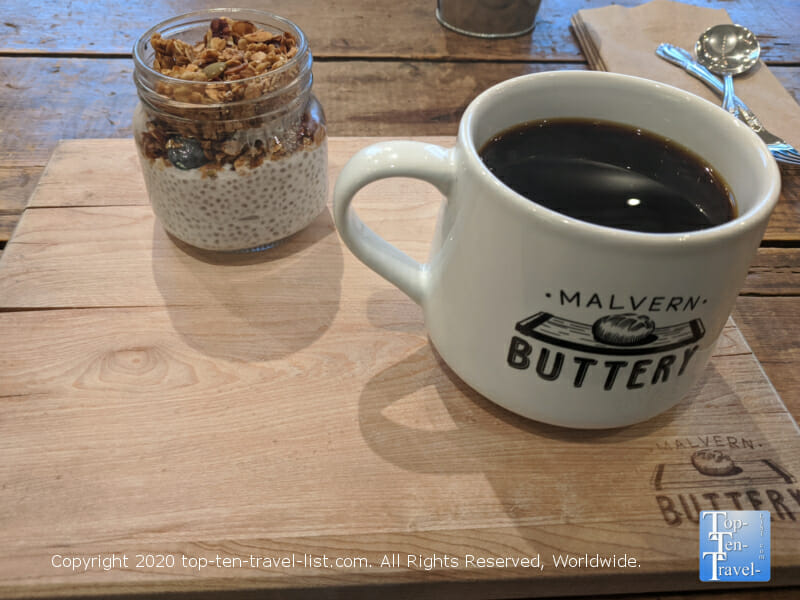 Delicious house coffee and chia seed pudding at Malvern Buttery in Malvern, Pennsylvania