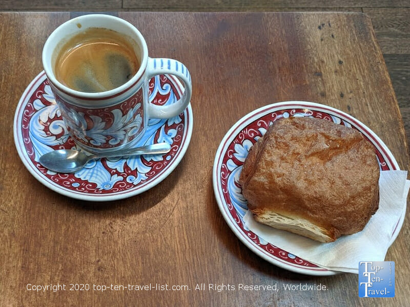 Delicious Americano and Chocolate Croissant at La Colombe coffee in Old City Philadelphia