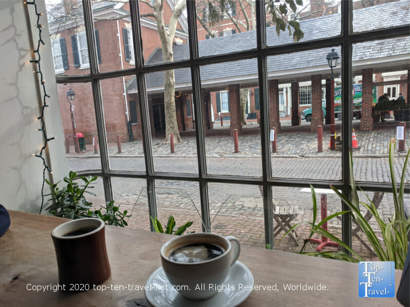 Fantastic coffee and a nice historic vibe at Bodhi Coffee in the Society Hill neighborhood of Philadelphia