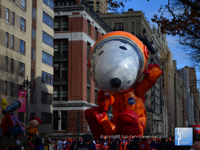 Snoopy astronaut balloon in the Macy's Thanksgiving Day parade in NYC
