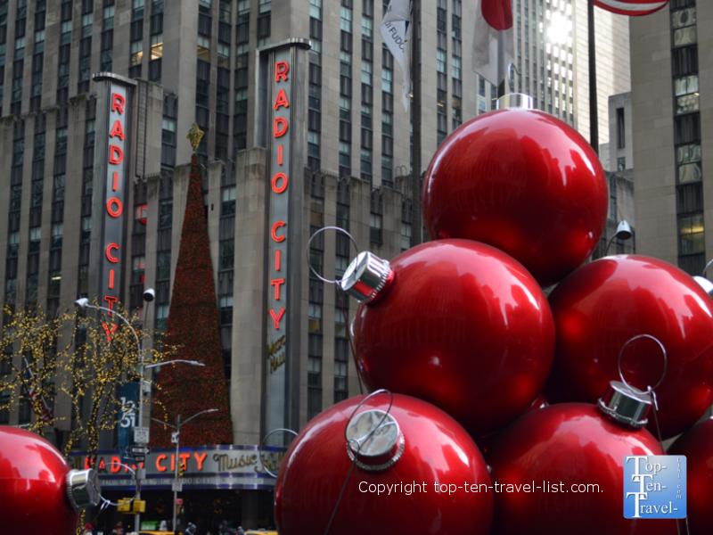 Giant Christmas ornaments in NYC near Radio City